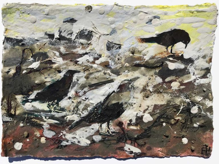 FRANCES-HATCH-PECKING-AROUND-AMONG-THE- WEED 16x22cm unframed size framed