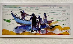 FOLDING GREETING CARD: DAWN FISHING AT MAMELLAPURAM.