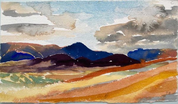 Iceland Foot of mount Namafjall looking south evening 23x14cm watercolour