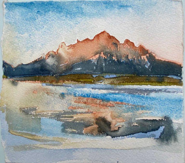 Iceland Hofn toward mainland sunset on cliffs watercolour 19x17cm