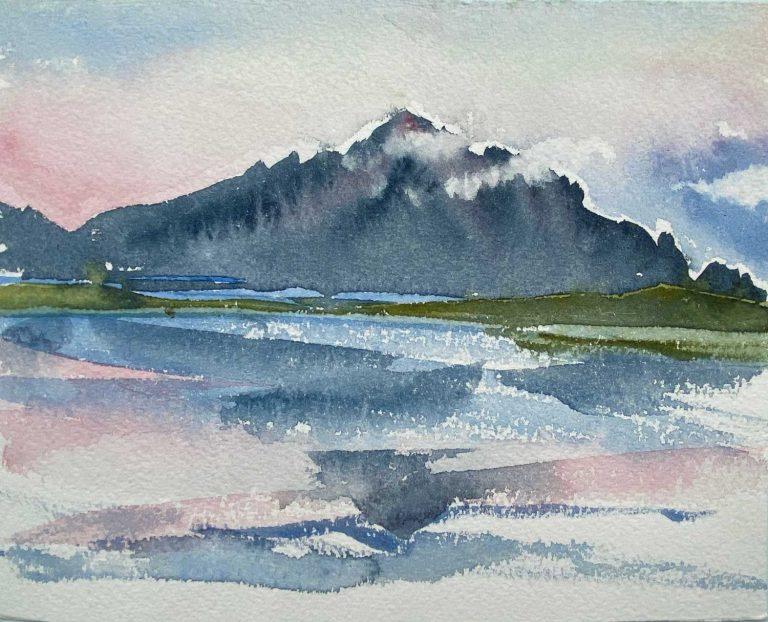 Iceland Hofn towards mainland after-sunset watercolour 23x28cm