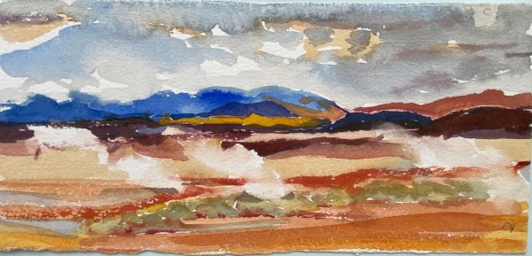 Iceland Mount Namafjall mud pools watercolour 28x13cm