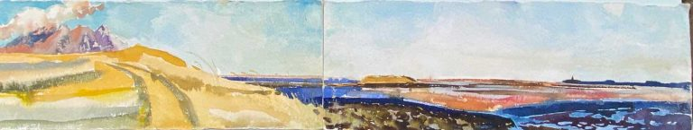 Iceland from Osland Hofn watercolour diptych 14x76cm