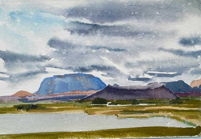 Iceland lake Myvatn looking SE RAIN watercolour 28x19cm