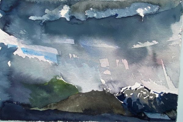 Iceland storm over Hafrafell Skaftafell watercolour 28x19cm