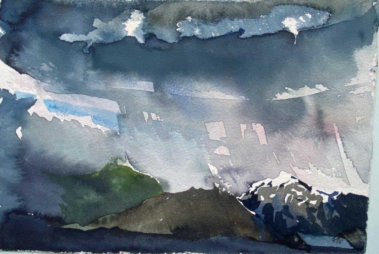 Iceland storm over Hafrafell Skaftafell watercolour 28x19cm