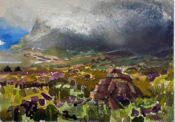 Orkney Low cloud Hoy watercolour 18x13cm