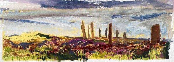 Orkney Ring of Brodgar heather-on lemon watercolour 43x16cm43x16cm