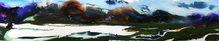 Velvet Dusk Loch Damh Watercolour acrylic