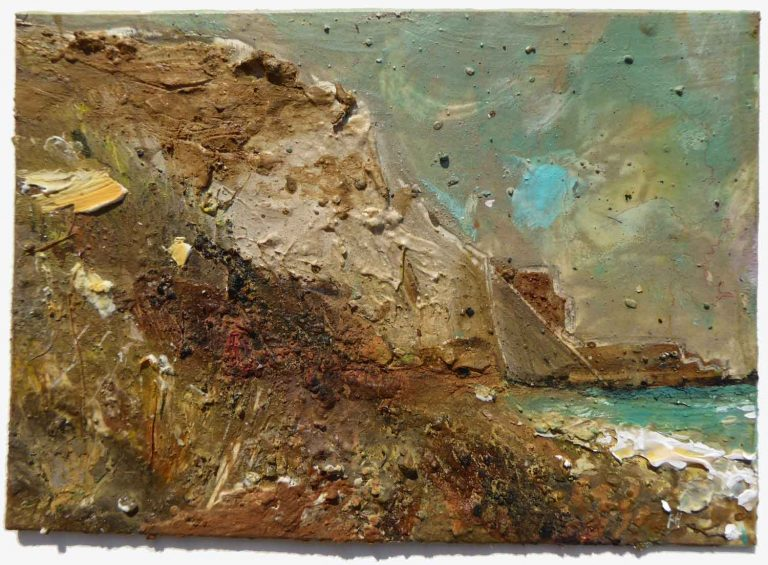 Watton Cliff with COBALT TURQUOISE 15x20cm site material and gouache on card