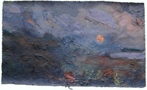 MACKEREL MOON Acrylic and earth materials on unstretched canvas.